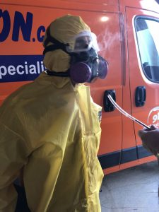 A Technician Preparing For A Water Cleanup And Mold Removal Job